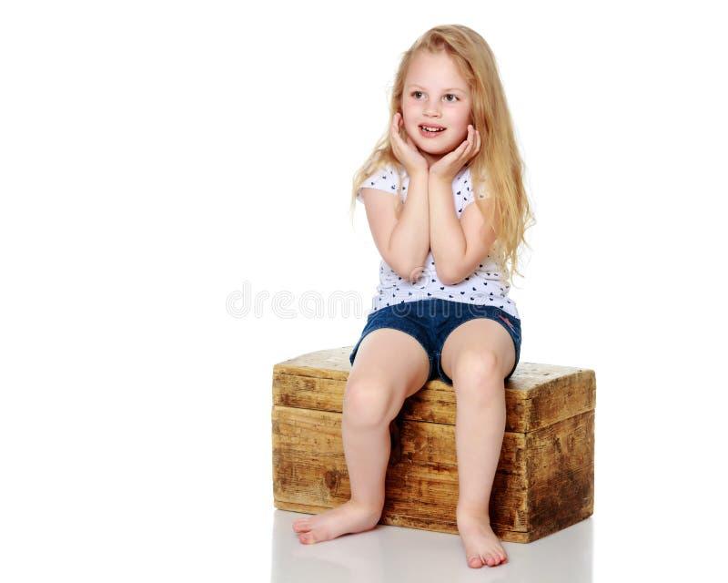 一个小女孩坐一个木箱 库存图片