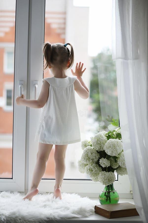 一个小女孩坐窗台 花束开花例证向量. 逗人喜爱, 玻璃.图片