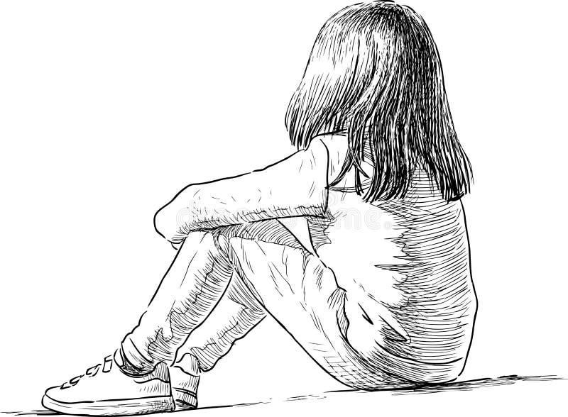一个小女孩坐 库存例证