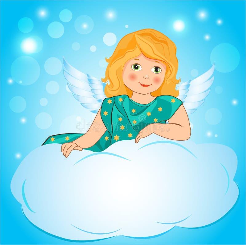 一个小女孩天使在云彩飞过的例证 库存例证