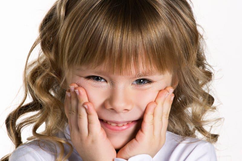 一个小女孩的特写镜头画象 免版税库存照片