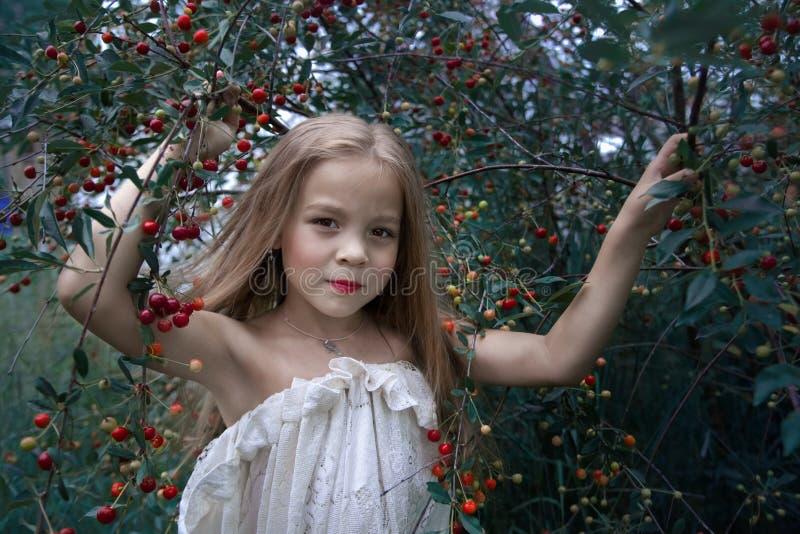 一个小女孩的风格化画象在樱桃树附近的 库存照片