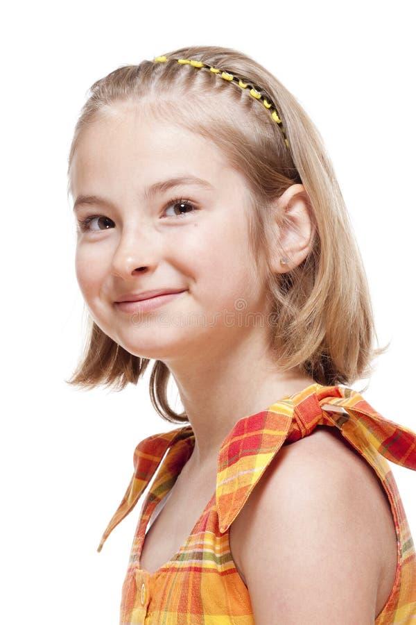 一个小女孩的画象有金发的 图库摄影