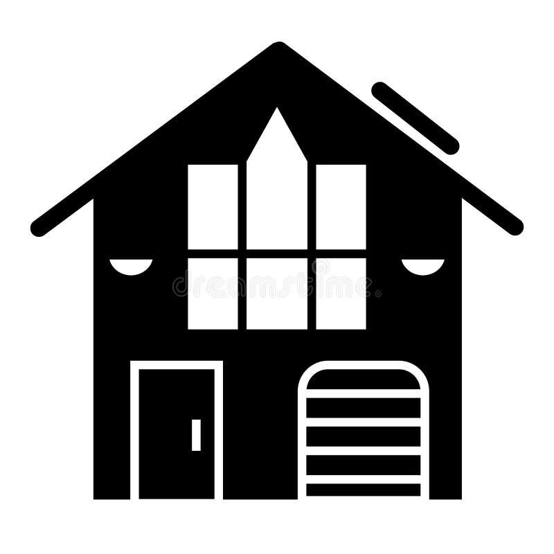 一个小家庭村庄坚实象 与车库在白色隔绝的传染媒介例证的村庄 家庭纵的沟纹样式设计 库存例证