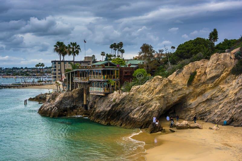 一个小小海湾的看法在科罗娜del Mar 图库摄影