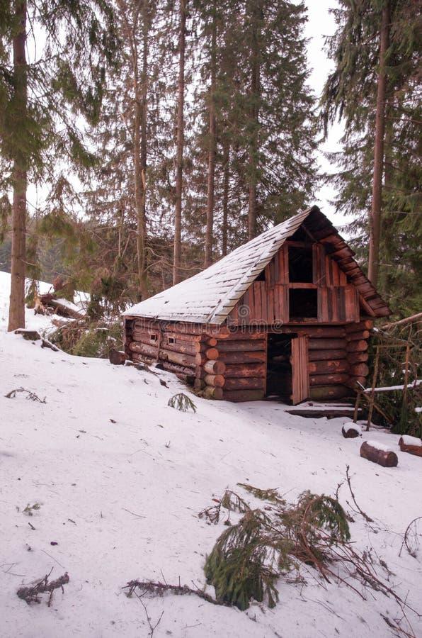 一个小屋在冬天森林里猎人` s房子 库存图片
