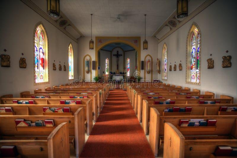 一个小教会的内部 免版税图库摄影