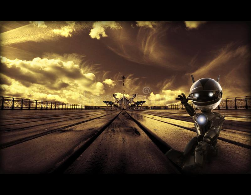 一个小机器人的抽象艺术性的3d例证在一件独特的风雨如磐的路艺术品的 库存照片