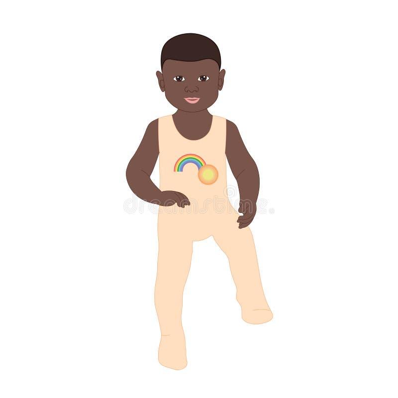一个小男孩在履带牵引装置走 向量例证