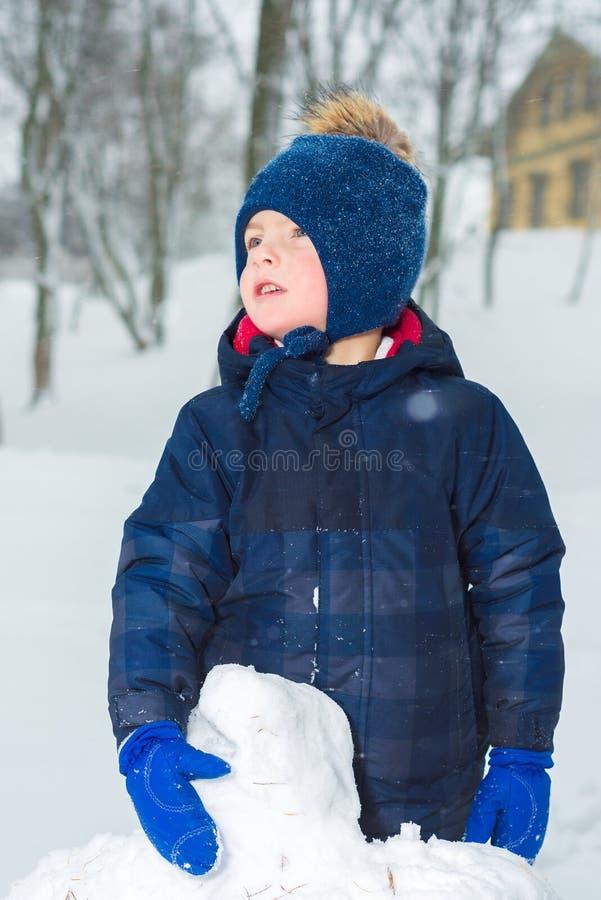 一个小男孩的画象在冬天 孩子在冬季衣服帽子、夹克和手套打扮 免版税库存照片