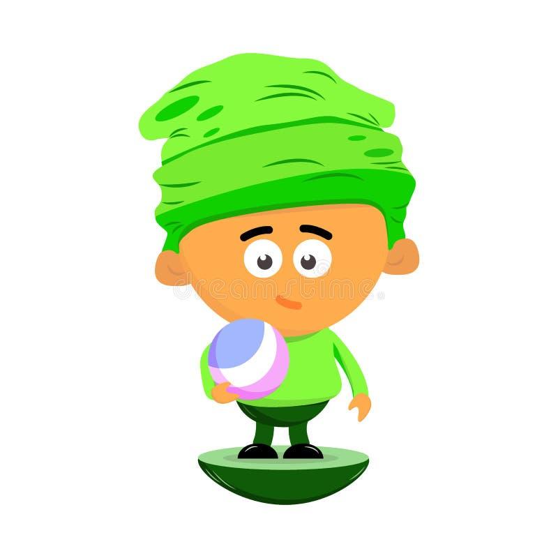 一个小男孩的逗人喜爱的卡通人物一个大帽子的在他的手上拿着一个球 o 库存例证