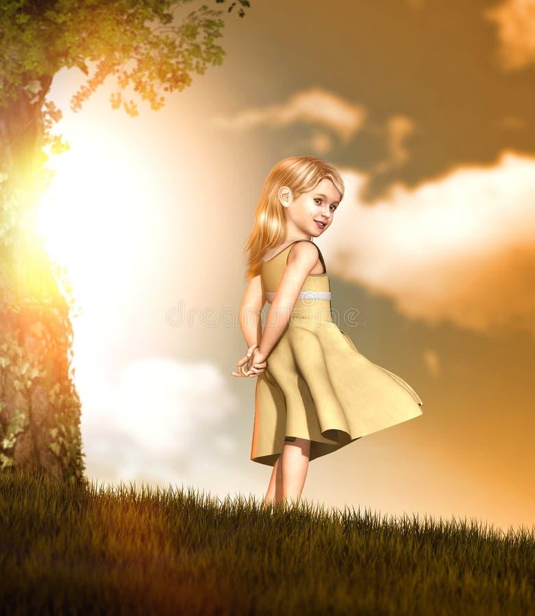 一个小白肤金发的微笑的女孩的画象一件礼服的在日落 库存例证