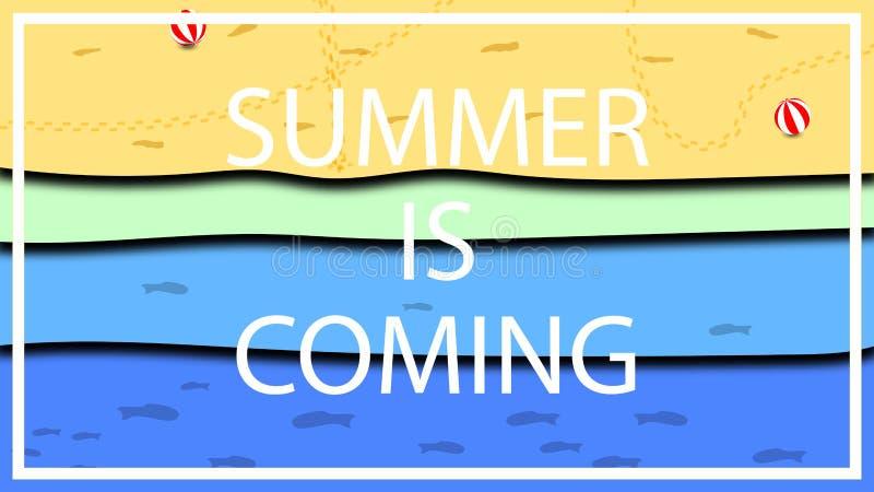 一个小的未来派海报设计为接近的夏天和海滩季节、节日和乐趣、娱乐和全部  库存例证