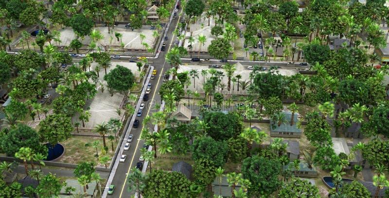 一个小省镇的全景作为背景 库存例证