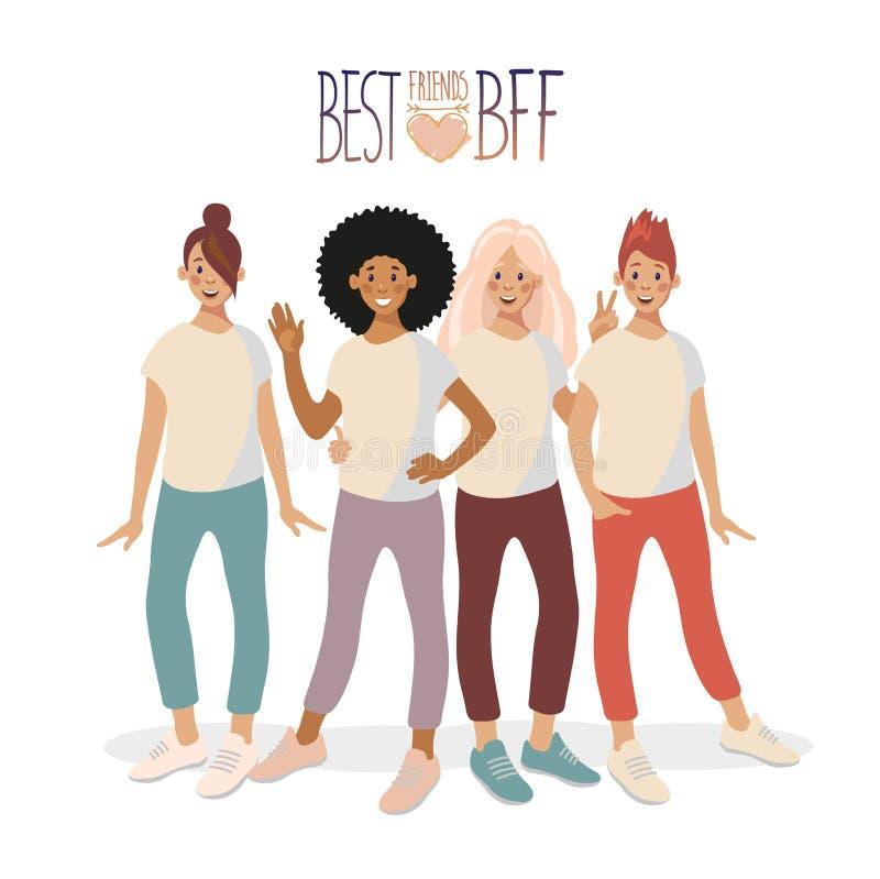 一个小组四少女站立,拥抱并且微笑着 向量例证