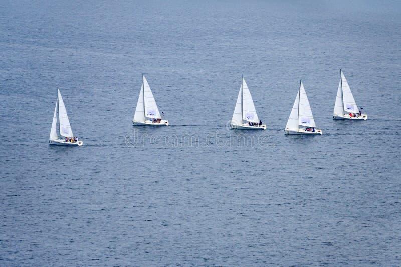 一个小组在水的帆船 图库摄影