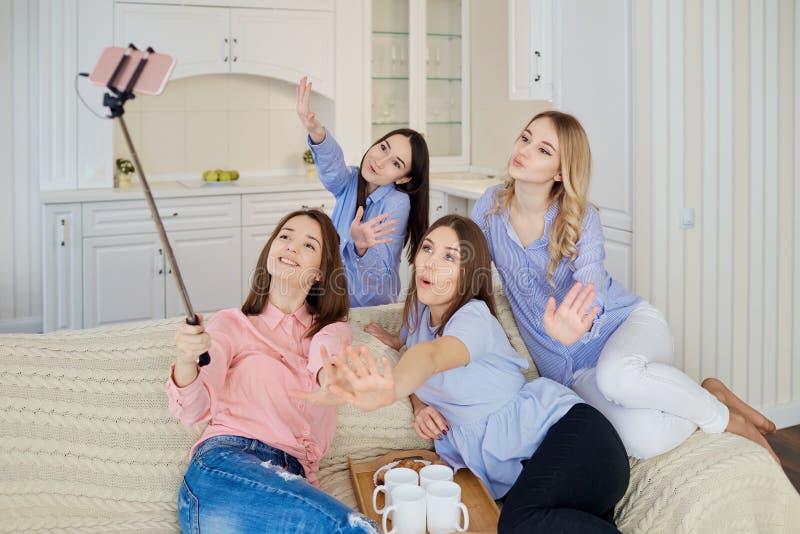 一个小组女孩`朋友做在电话的selfie在集会 免版税库存照片