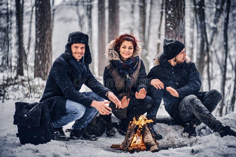 一个小组愉快的朋友在一个多雪的森林中间演出了野营 图库摄影
