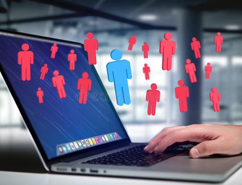 一个小组的入侵者网络人-事务和联络精读 免版税库存照片