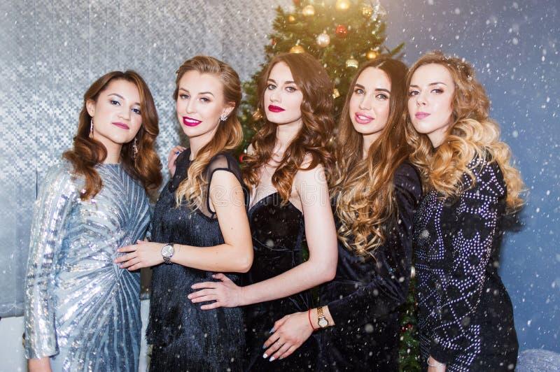 一个小组的画象美丽的年轻女人在新年,圣诞节 库存照片