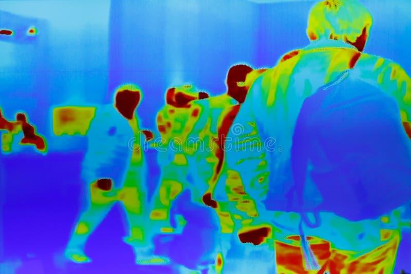 一个小组的红外热量图象乘客 库存图片