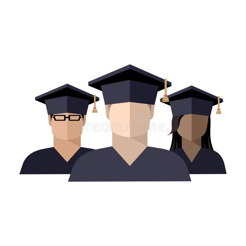 一个小组的象学生男孩和女孩一个毕业生盖帽的 库存例证