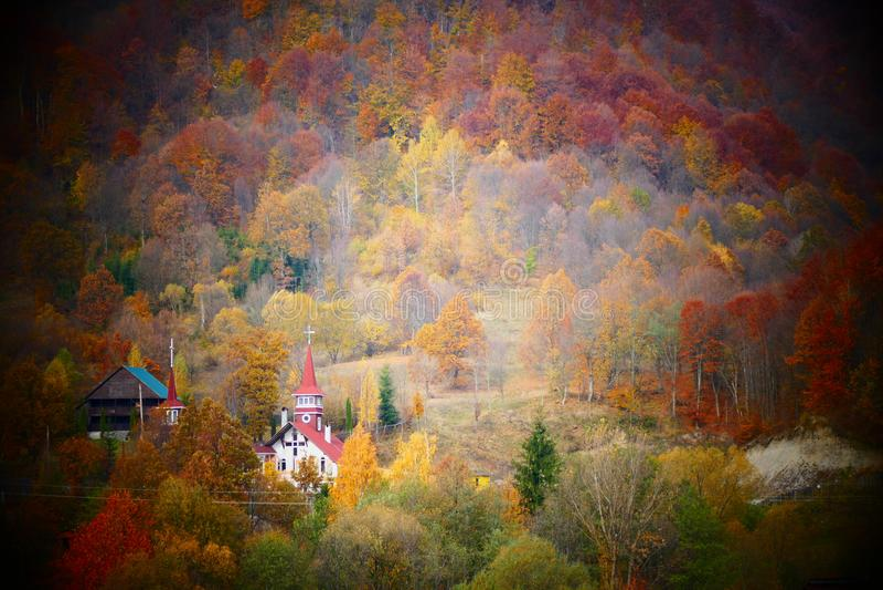 一个小罗马尼亚村庄的森林包围的农村东正教 免版税库存照片