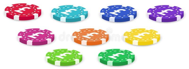 一个小组五颜六色的纸牌筹码 库存例证
