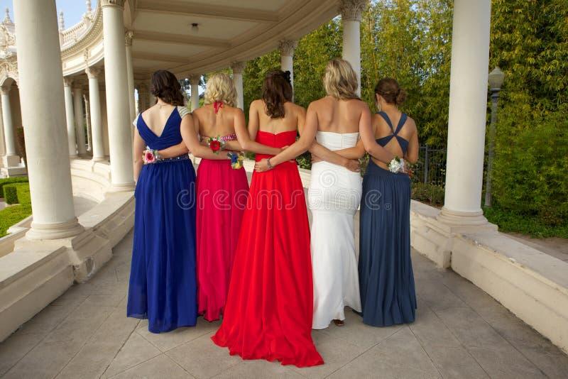 一个小组从后面摆在的十几岁的女孩在他们的正式舞会穿戴 免版税库存照片