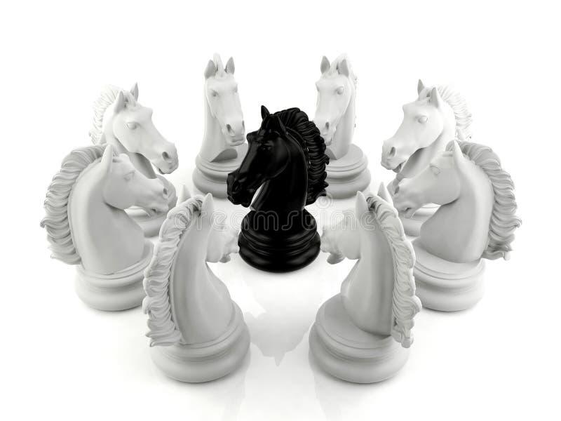 一个小组围拢的黑骑士棋救世主棋 图库摄影