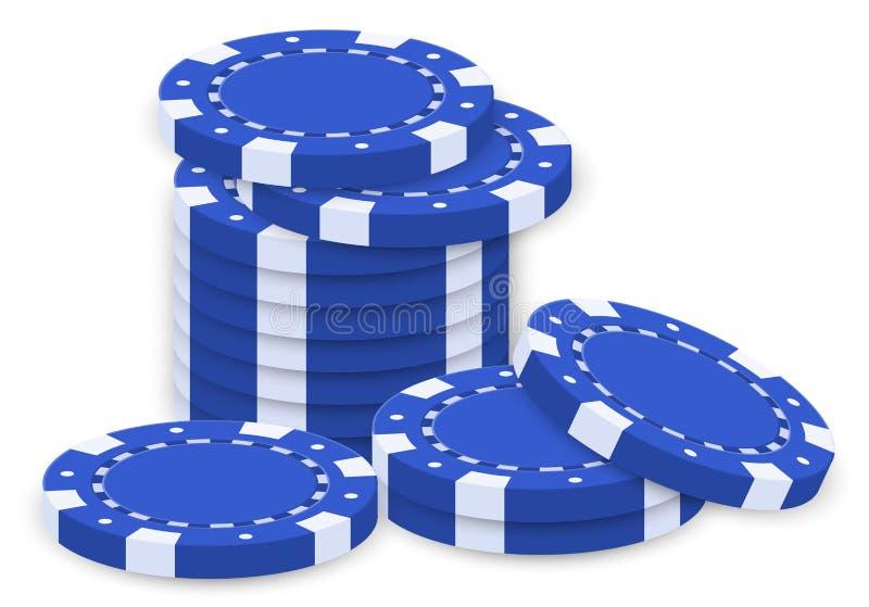 一个小组蓝色纸牌筹码 皇族释放例证