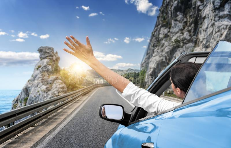 一个少妇乘汽车驾驶到海并且摇她的从一辆蓝色敞篷车汽车的手 在沿海的假期 库存图片