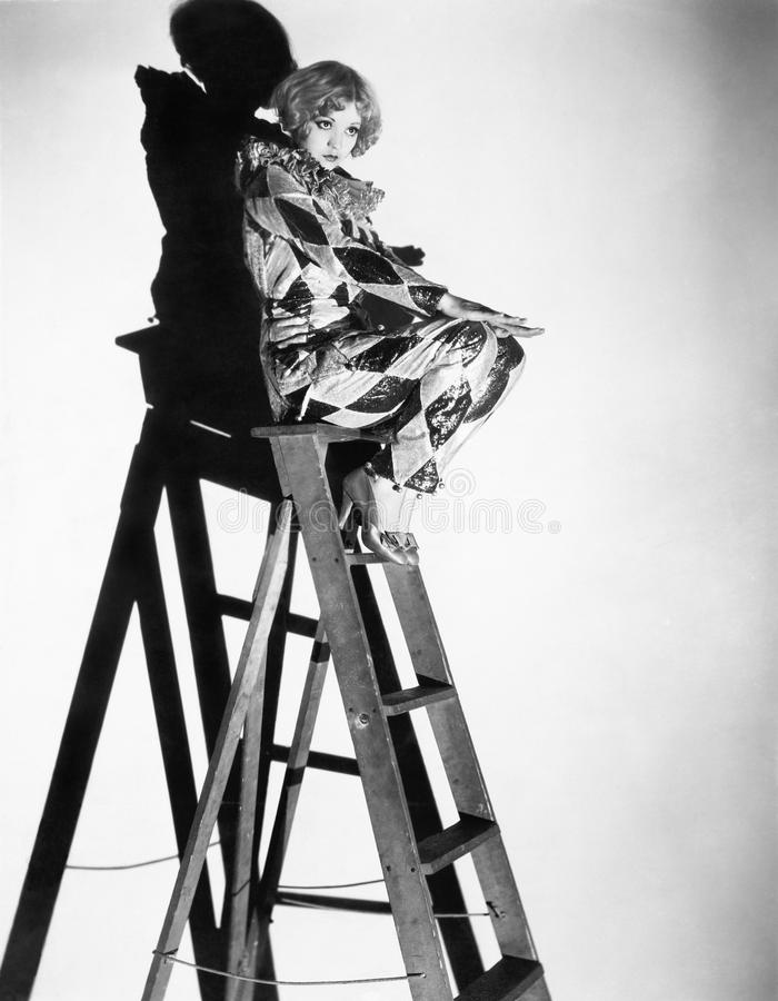 一个少妇的档案坐梯子(所有人被描述不更长生存,并且庄园不存在 供应商warrantie 库存照片