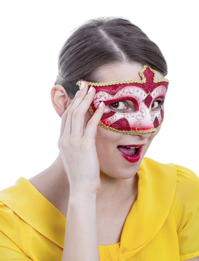 一个少妇的画象有面具的 免版税库存图片