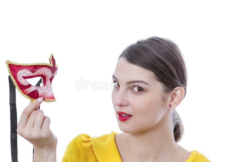 一个少妇的画象有面具的 库存照片