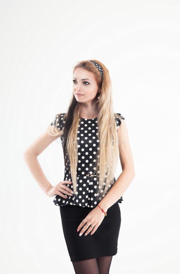 一个少妇的画象-一套时髦的衣服的管理员在a 图库摄影