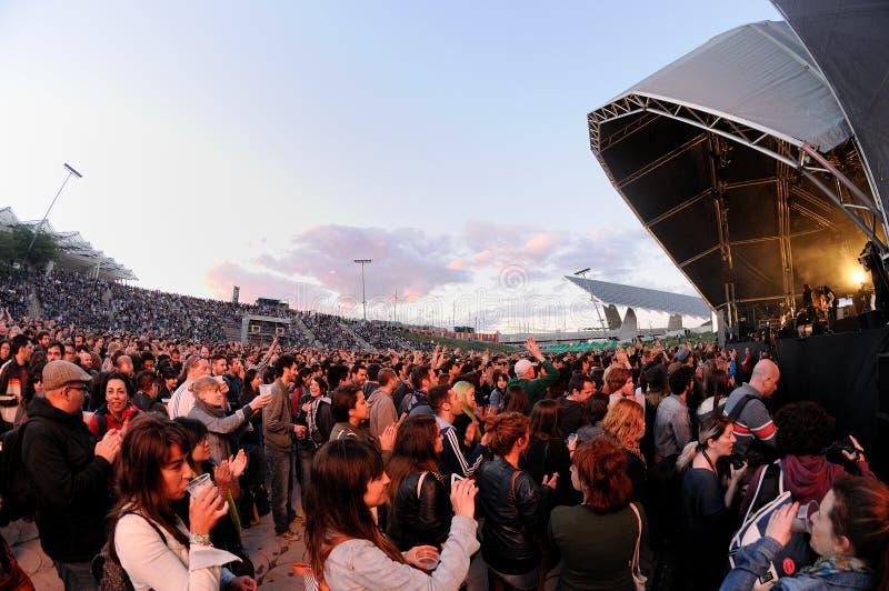 一个就职自由音乐会的人们在海涅肯Primavera听起来2013年节日 免版税库存图片