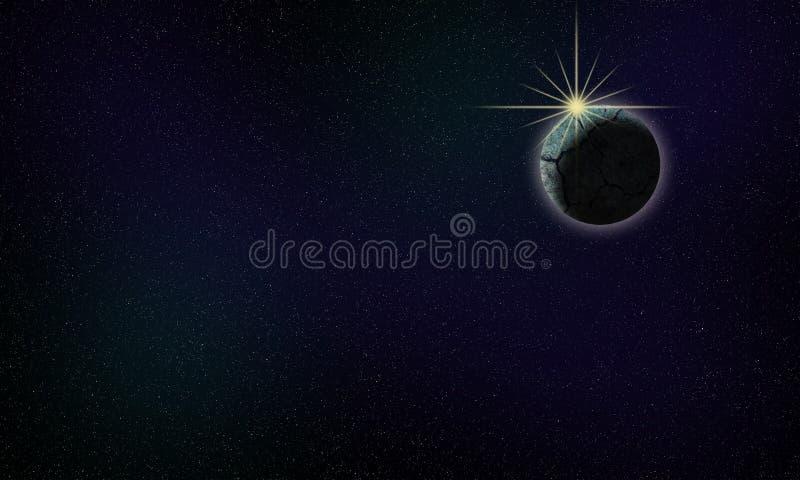 一个岩石行星的例证与后边星的 与轻微的星云的黑暗的天空 免版税图库摄影