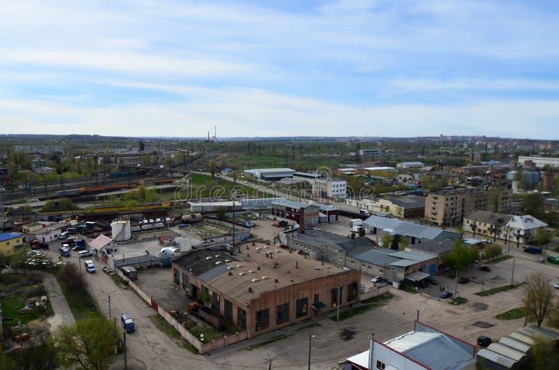 一个工业区的风景在从b的哈尔科夫市 免版税库存照片
