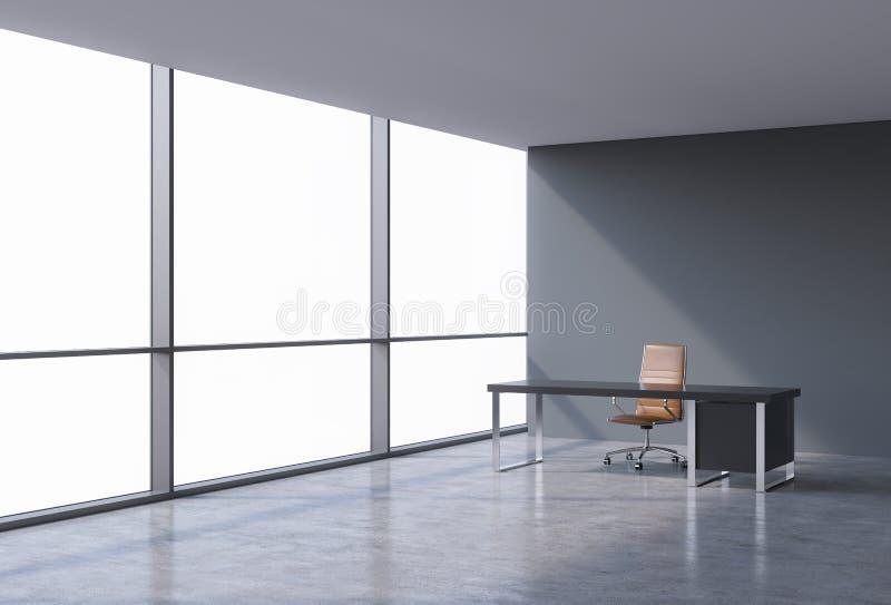 一个工作场所在一个现代全景办公室,在窗口的拷贝空间 一个棕色皮椅和一张黑桌 向量例证