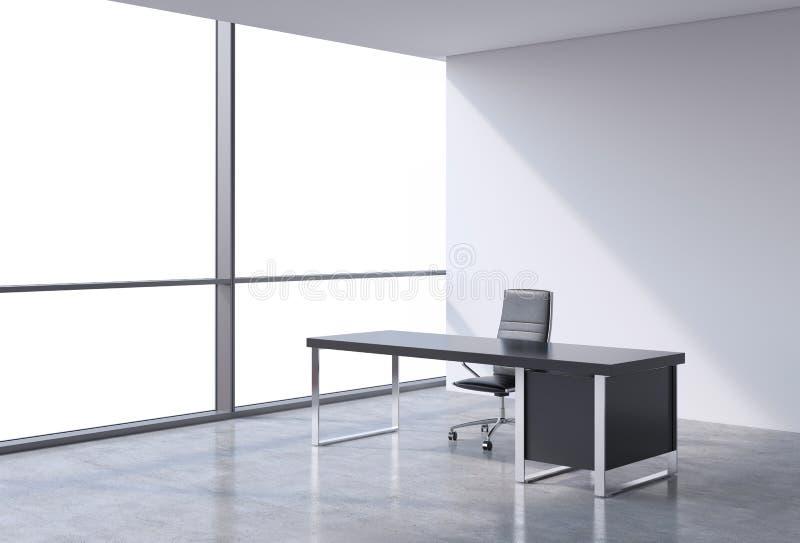 一个工作场所在一个现代全景办公室,拷贝从窗口的空间视图 财政咨询服务的概念 向量例证