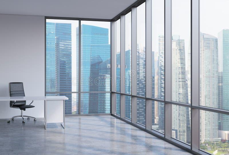 一个工作场所在一个现代壁角全景办公室在新加坡 财政咨询服务的概念 向量例证