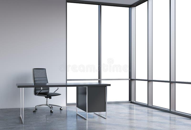 一个工作场所在一个现代壁角全景办公室,在窗口的拷贝空间 一个黑皮椅和一张黑桌 向量例证