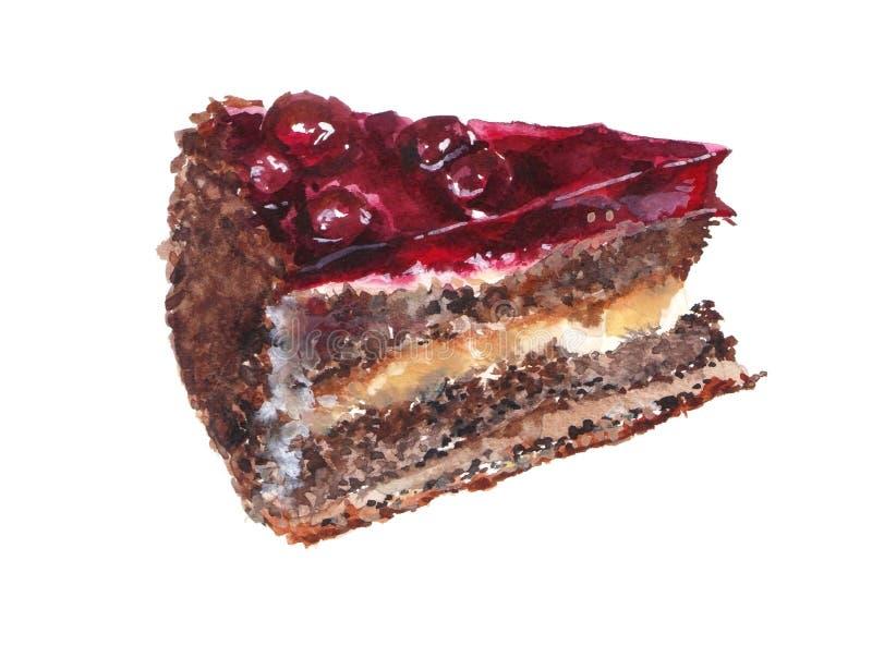 一个巧克力蛋糕的水彩例证用樱桃 皇族释放例证