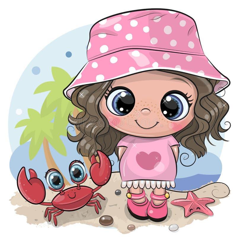 一个巴拿马草帽和螃蟹的动画片女孩在海滩 库存例证