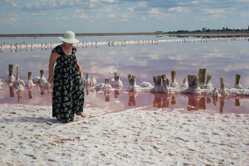 一个帽子的妇女在一棵盐产出的植物的背景 库存照片