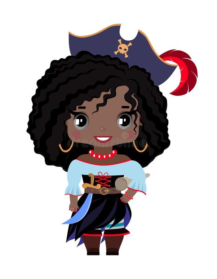 一个帽子的小海盗女孩有一根羽毛的,与黑暗的皮肤、黑发和灰色眼睛 皇族释放例证