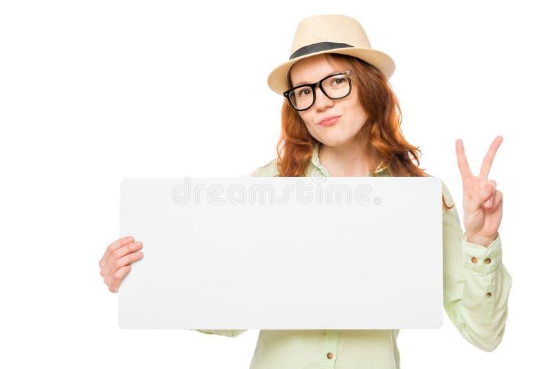一个帽子的少妇有横幅的 图库摄影