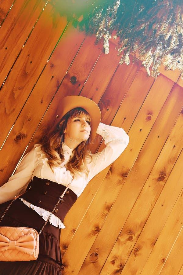 一个帽子的美丽的微笑的女孩在有玫瑰的葡萄酒礼服 新的成人 Rustik 库存图片