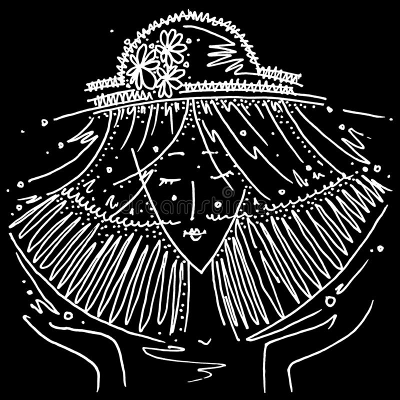 一个帽子的黄道带标志天秤座黑白画的女孩以黄道带标志天秤座的形式 皇族释放例证